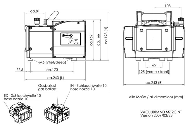 MZ 2C NT - 尺寸規格表