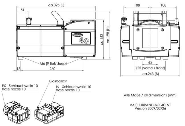 MD 4C NT - 尺寸規格表