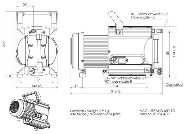 MD 1C - 尺寸規格表