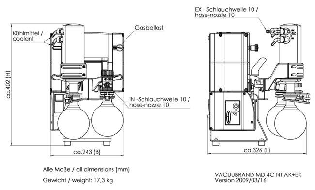 MD 4C NT +AK+EK - 尺寸规格表