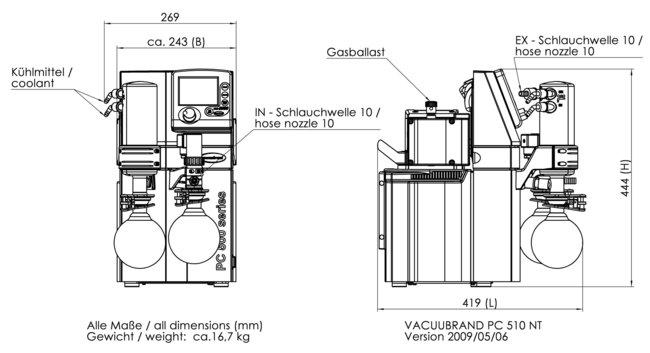 PC 510 NT - 尺寸规格表