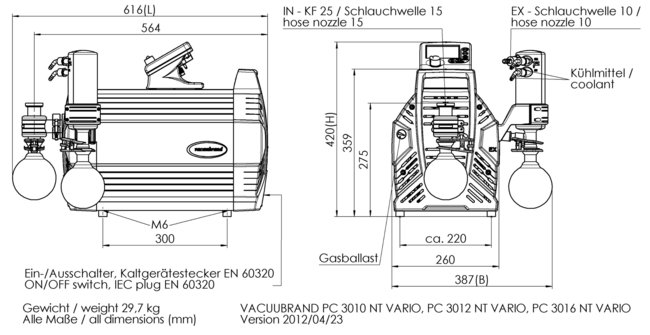 PC 3016 NT VARIO - 尺寸规格表