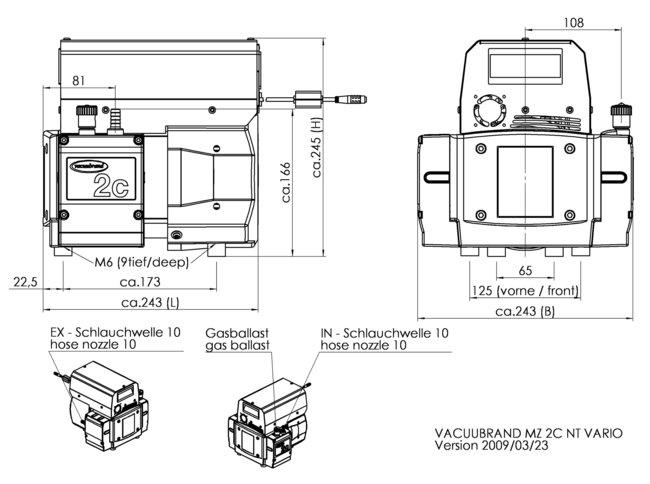 MZ 2C NT VARIO - 尺寸規格表