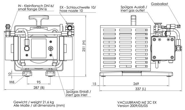 MZ 2C EX - 尺寸规格表