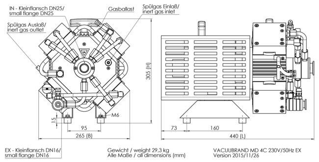 MD 4C EX VARIO - 尺寸规格表