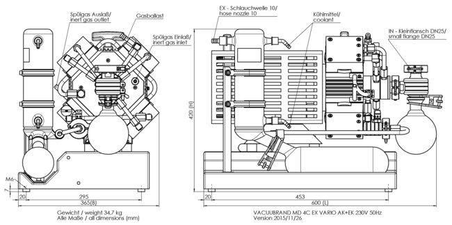 MD 4C EX VARIO +AK+EK - 尺寸规格表