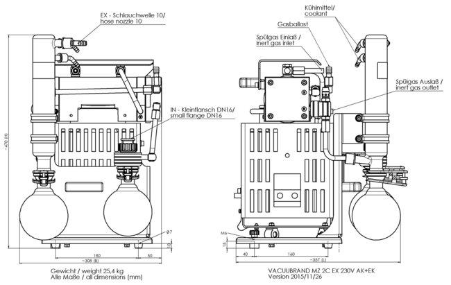 MZ 2C EX +AK+EK - 尺寸规格表