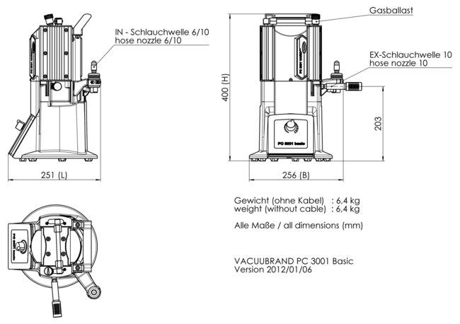 PC 3001 basic - 尺寸规格表
