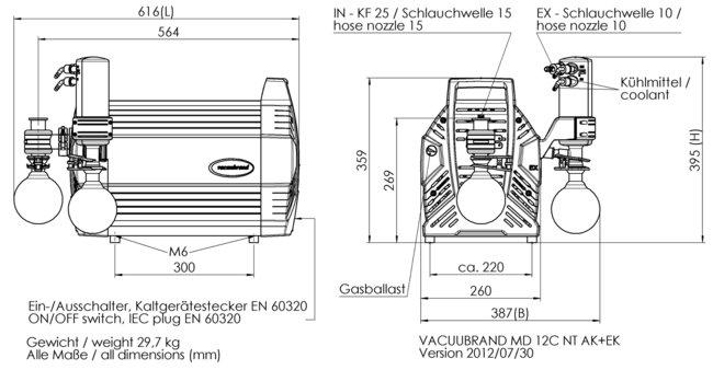 MD 12C NT +AK+EK - 尺寸规格表