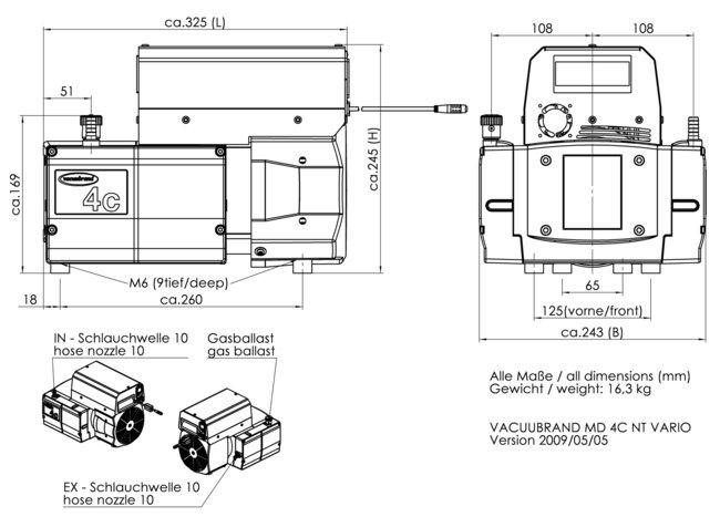 MD 4C NT VARIO - 尺寸規格表