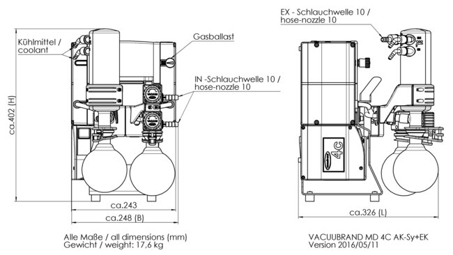 MD 4C NT +AK SYNCHRO+EK - 尺寸规格表