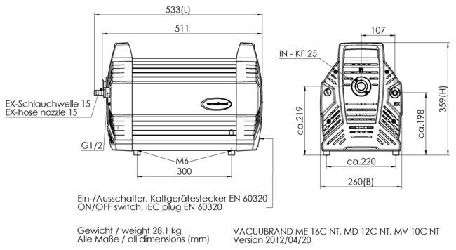MV 10C NT - 尺寸規格表