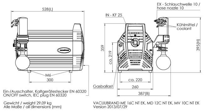 MV 10C NT +EK - 尺寸规格表