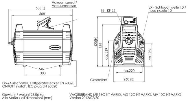 MV 10C NT VARIO - 尺寸规格表