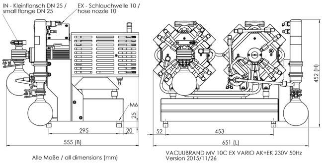 MV 10C EX VARIO +AK+EK - 尺寸规格表