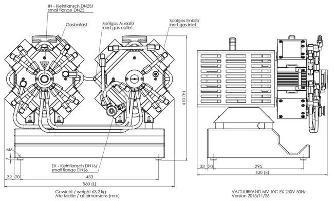 MV 10C EX - 尺寸规格表