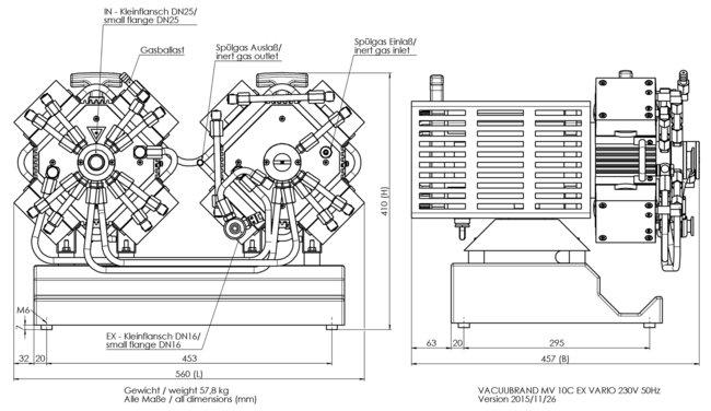 MV 10C EX VARIO - 尺寸规格表