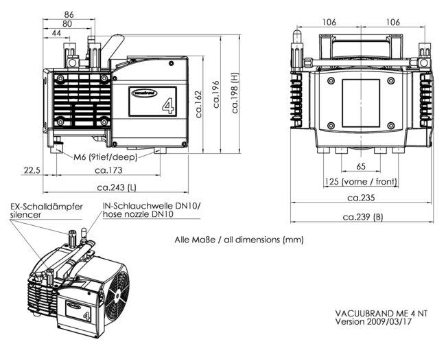ME 4 NT - 尺寸规格表