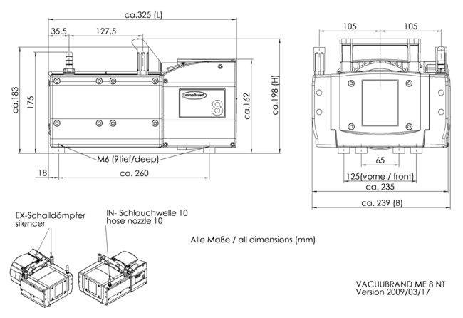 ME 8 NT - 尺寸规格表