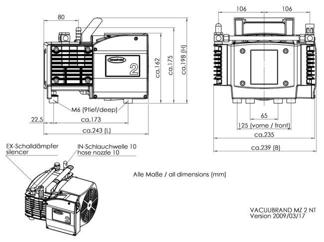MZ 2 NT - 尺寸规格表