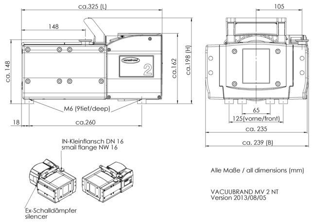 MV 2 NT - 尺寸规格表