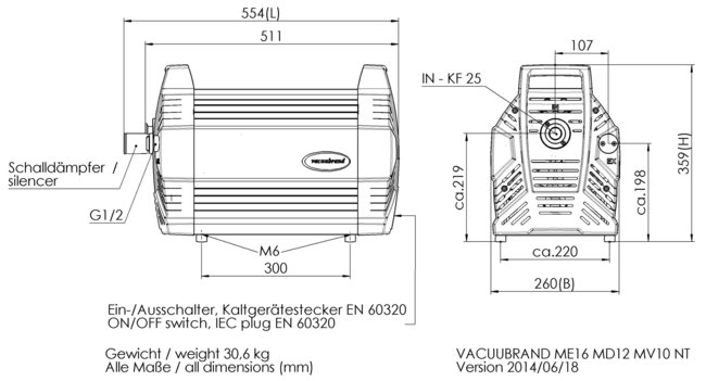 MV 10 NT - 尺寸规格表