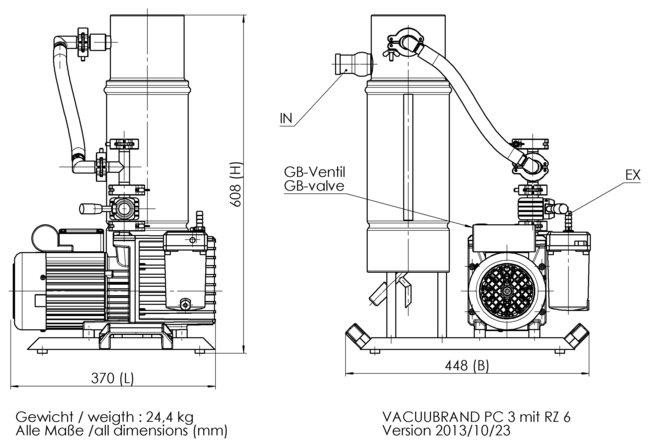 PC 3 / RZ 6 - 尺寸规格表
