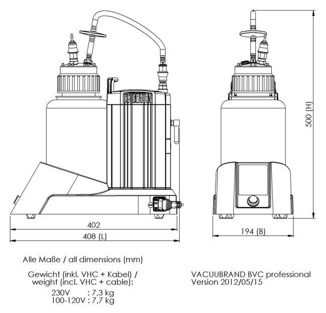 BVC professional - 尺寸规格表