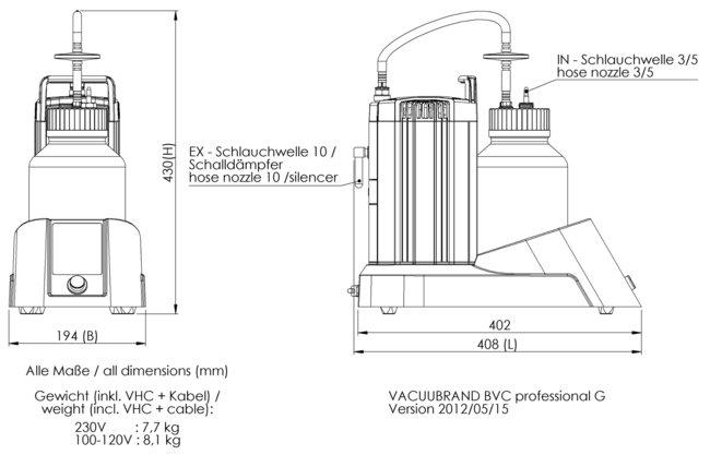 BVC professional G - 尺寸规格表