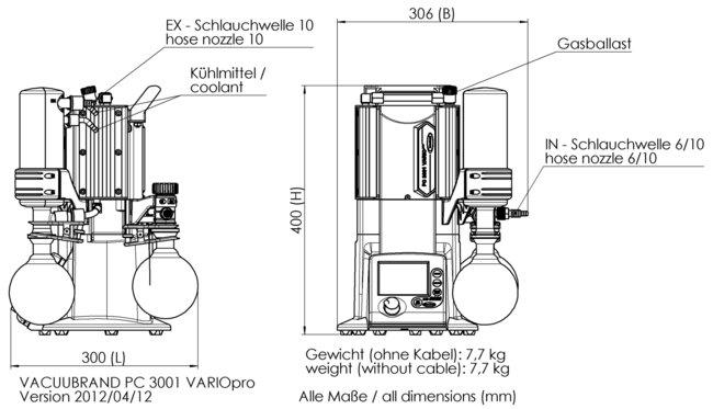 PC 3001 VARIO<sup>pro</sup> - 尺寸规格表